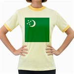 Flag_Turkmenistan Women s Fitted Ringer T-Shirt