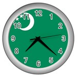 Flag_Turkmenistan Wall Clock (Silver)