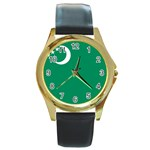 Flag_Turkmenistan Round Gold Metal Watch