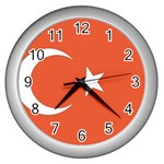 Flag_Turkey Wall Clock (Silver)
