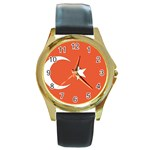 Flag_Turkey Round Gold Metal Watch