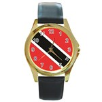 Flag_Trinidad & Tobago Round Gold Metal Watch