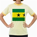 Flag_Sao Tome & Principe Women s Fitted Ringer T-Shirt