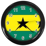 Flag_Sao Tome & Principe Wall Clock (Black)