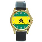 Flag_Sao Tome & Principe Round Gold Metal Watch