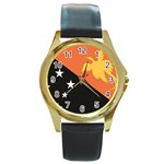Flag_Papua New Guinea Round Gold Metal Watch
