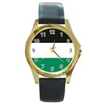 Flag_Palestine Round Gold Metal Watch