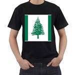 Flag_Norfolk Island Black T-Shirt (Two Sides)