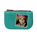 Casual  purse blue flowers with your name - Mini Coin Purse