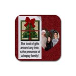 Happy Family Christmas Coaster - Rubber Coaster (Square)