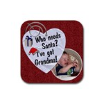 Grandma Christmas Coaster - Rubber Coaster (Square)