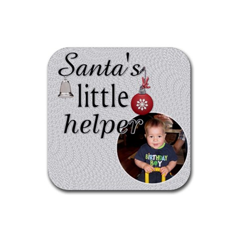 Santa s Little Helper Christmas Coaster By Lil    Rubber Coaster (square)   9mkvmz9h03pb   Www Artscow Com Front