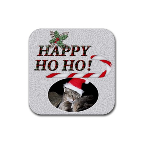 Happy Ho Ho Christmas Coaster By Lil    Rubber Coaster (square)   Ztxnupio7to6   Www Artscow Com Front