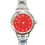 Flag_China Round Italian Charm Watch
