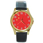 Flag_China Round Gold Metal Watch