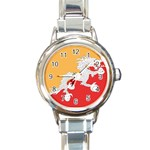 Flag_Bhutan Round Italian Charm Watch