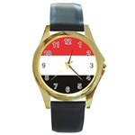 Flag_Yemen Round Gold Metal Watch