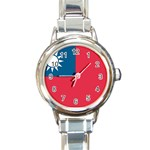 Flag_Taiwan Round Italian Charm Watch