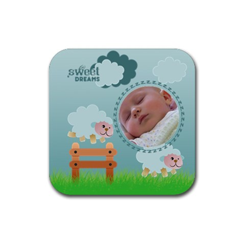 Counting Sheep 2   Ruber Coaster By Carmensita   Rubber Coaster (square)   Ipqd68av2xcn   Www Artscow Com Front