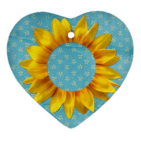 Sunflower Ornament By Mikki   Ornament (heart)   Y9bv1jap7dsd   Www Artscow Com Front