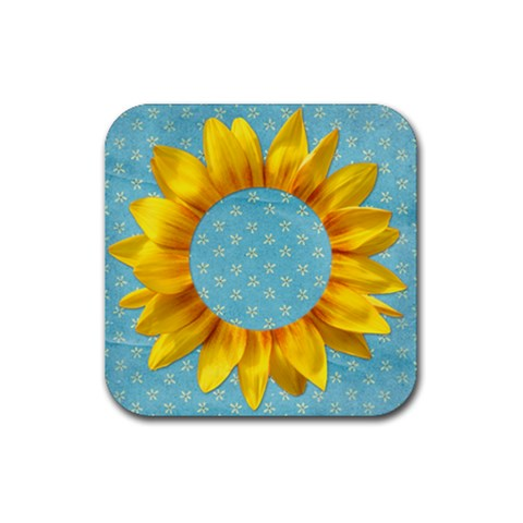 Sunflower Square Coaster By Mikki   Rubber Coaster (square)   Hdryp6kz6oah   Www Artscow Com Front