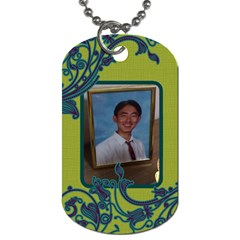 Green With Blue Swirls Dog Tag By Jena   Dog Tag (two Sides)   Nmqv6d963i06   Www Artscow Com Front