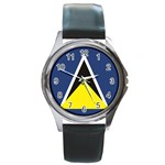 Flag_St lucia Round Metal Watch