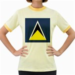 Flag_St lucia Women s Fitted Ringer T-Shirt