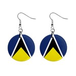 Flag_St lucia 1  Button Earrings