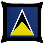 Flag_St lucia Throw Pillow Case (Black)