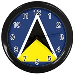 Flag_St lucia Wall Clock (Black)