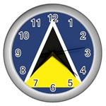 Flag_St lucia Wall Clock (Silver)
