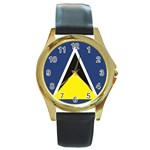 Flag_St lucia Round Gold Metal Watch