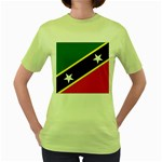 Flag_St chistopher nevis Women s Green T-Shirt