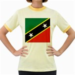 Flag_St chistopher nevis Women s Fitted Ringer T-Shirt