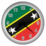Flag_St chistopher nevis Wall Clock (Silver)