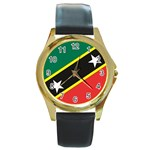 Flag_St chistopher nevis Round Gold Metal Watch