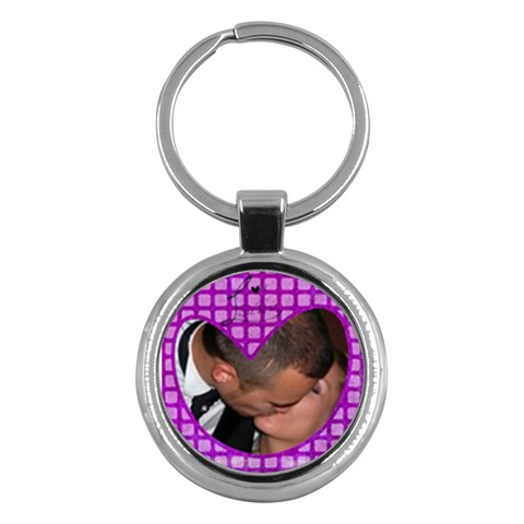 Violet Heart   Key Chain By Carmensita   Key Chain (round)   8rhilpym60cx   Www Artscow Com Front