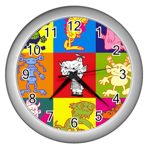 Monster   Clock By Carmensita   Wall Clock (silver)   3crnlupv6wlx   Www Artscow Com Front