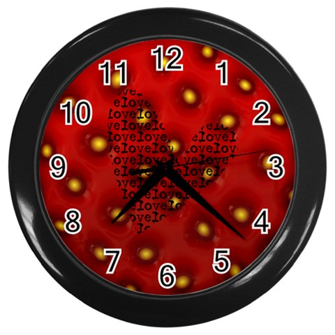Strawberry Love   Clock By Carmensita   Wall Clock (black)   Qswm4rgiooou   Www Artscow Com Front