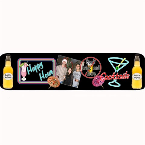 Happy Hour Large Bar Mat By Lil    Large Bar Mat   L5rqtmbguc66   Www Artscow Com 34 x9.03 Bar Mat - 1