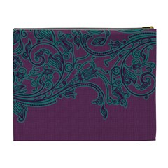 Purple & Turquoise Xl Cosmetic Bag By Klh   Cosmetic Bag (xl)   7ifdr31j44n5   Www Artscow Com Back