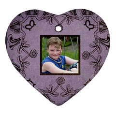 Classic Purple & Black Lace Heart Ornament By Catvinnat   Heart Ornament (two Sides)   Efrnx1h3o9bh   Www Artscow Com Back