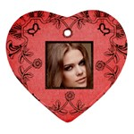 classic red & black valentine lace heart ornament - Heart Ornament (Two Sides)