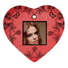 Classic Red & Black Valentine Lace Heart Ornament By Catvinnat   Heart Ornament (two Sides)   Lfbwpup3wz86   Www Artscow Com Back