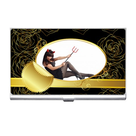 Black Flower Lady By Wood Johnson   Business Card Holder   Rcmsyy3qhnnt   Www Artscow Com Front