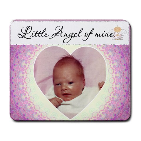 Little Angel Of Mine Pink Mousepad By Lil    Large Mousepad   Tbrh25p16kqi   Www Artscow Com Front