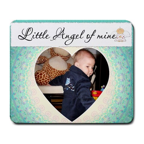 Little Angel Of Mine Blue Mousepad By Lil    Large Mousepad   77sf8n94falj   Www Artscow Com Front