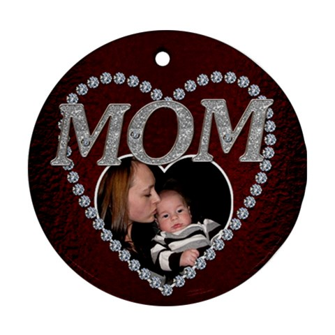 Mom Christmas Ornament By Lil    Ornament (round)   Hac9brt2xyij   Www Artscow Com Front