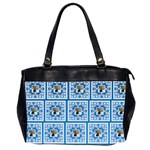 Art Nouveau Multi Frame bright blue & White oversized bag - Oversize Office Handbag (2 Sides)